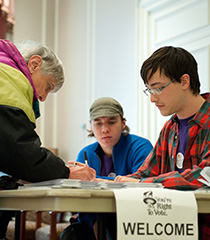 Student Helping Voters
